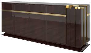 casa padrino designer sideboard dunkelbraun hochglanz gold 220 x 50 x h 85 cm edler schrank mit 4 türen und 4 schubladen luxus wohnzimmer möbel