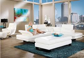 White Sectional Living Room Ideas by Elegant Shop For A Shiloh White 3 Pc Blended Leather Sectional