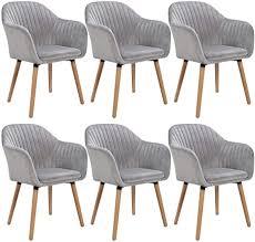 woltu 6x esszimmerstühle küchenstuhl wohnzimmerstuhl design stuhl polsterstuhl mit armlehne samt massivholz hellgrau bh95hgr 6