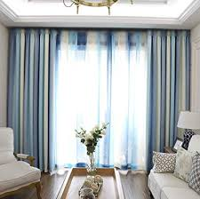 Pureaqu Room Darkening Modern Style Thermal Insulated Living Curtains Metal Grommet Top Blue Striped Blackout