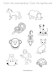 Color The Mammals Blue Reptiles Red Coloring Page