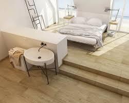 gemütliches schlafzimmer mit bad im skandinavischen stil