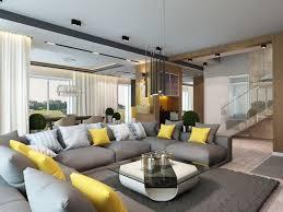 ideen wohnraum farben grau gelb wohnzimmer sofa garnitur