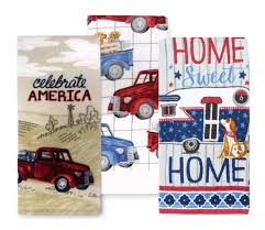 100 Pickup Truck Camper Celebrate America USA Patriotic Home Sweet Home And Dog Kitchen Towel Set 3 Cotton Tea Towels Perfect For Dish And Hand Drying