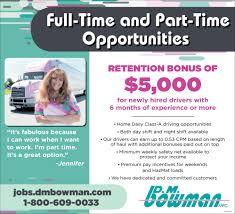 100 Part Time Trucking Jobs Drivers D M Bowman Williamsport MD