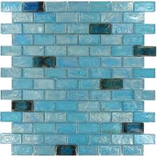 blue brick glossy iridescent glass tile oasis loversiq