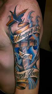 Navy Tattoo On Left Half Sleeve