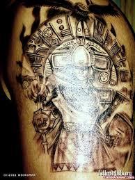 Shoulder Dark Ink Aztec Tattoo