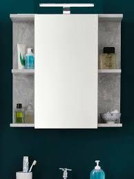 bad spiegelschrank grau design grau 60 x 62 cm mit led beleuchtung trendteam nano