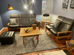 dyrlund design 3er sofa teak leder top comfort