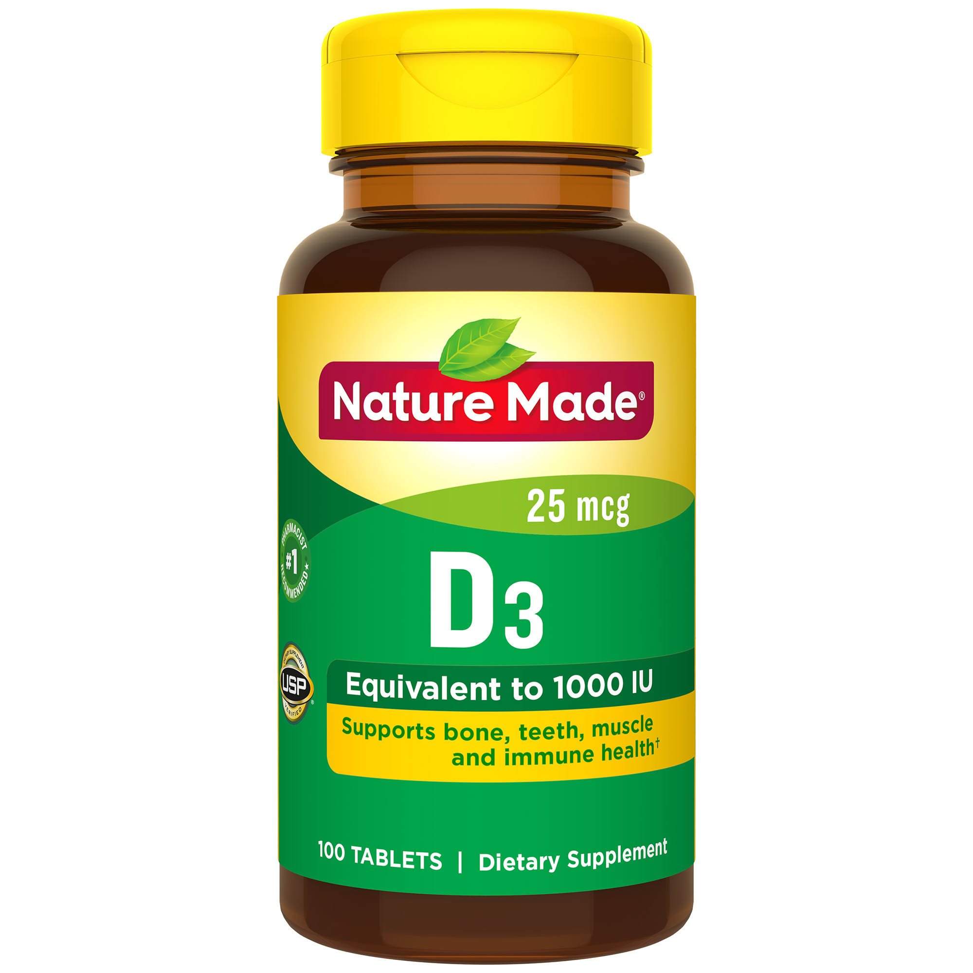 Nature Made D3 1000iu Vitamin D Supplement Tablets - 100ct