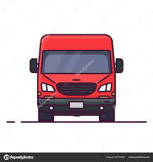 100 Truck Line Front View Red Delivery Style Vector Illustration Vehicle