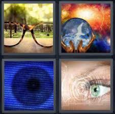 4 Pics 1 Word Answer for Glasses Crystal Ball Eye Lens