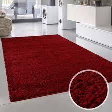 teppich shaggy flauschiger hochflor wohn teppich einfarbig uni rot wohnzimmer