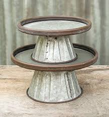 Tin Cake Stands Galvanized Metal Round Risers 12 And 10 Inch