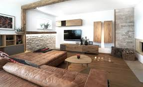 wohnzimmer modern gemütlich altholz eiche leder stein