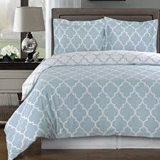Modern Moroccan Quatrefoil Light Blue White 3pc Cotton Duvet Cover