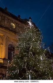 Flagpole Christmas Tree Uk by Christmas Tree Decorated Lights Outside Stock Photos U0026 Christmas