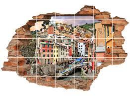 fliesentattoo badezimmer deko italienische küste fliesenbilder italien stadt fliesenaufkleber stadt wanddurchbruch 3d