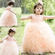 2017 peach coral lace flower girl dresses formal girl weddings