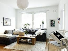 Small Apartment Living Room Ideas Red Patttern Bean Bag Chair Area Round Cream Rugs Bronze Fabric Comfy Sofa Espresso Walnut Frame As Well Backrest