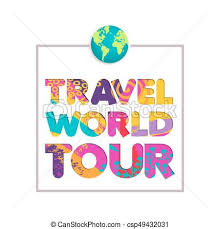 Travel The World Color Cutout Quote Vector