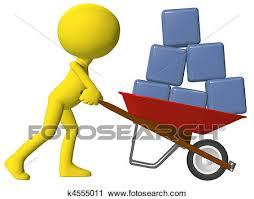 Clipart Person moving data cubes boxes wheelbarrow Fotosearch Search Clip Art Illustration