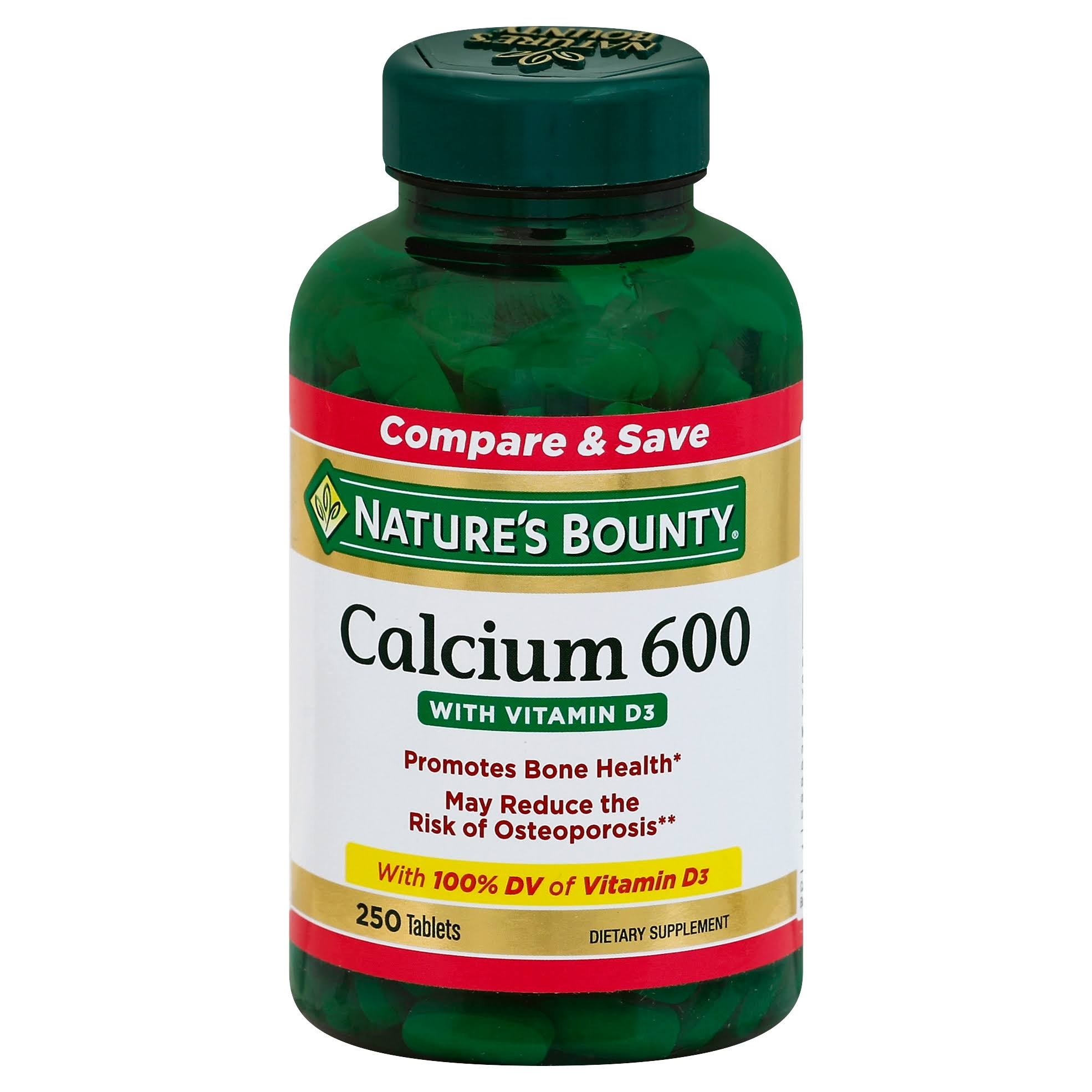 Nature's Bounty Calcium 600 with Vitamin D3 Dietary Supplement - 250 Tablets