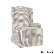 Sure Fit Ticking Stripe Wing Chair Slipcover In 2019 ... Quickcover Ticking Stripe Relaxed Fit Long Box Pleat Parsons Chair Slipcover Simple And Streamlined The Chair Slipcover Updated Ikea Counter Stools With Bar Stool Slipcovers Refreshing Easy Diy Striped That Exude Pleated Ottoman Howto Sincerely Marie Designs Ruffled Amazoncom Linen Seat Cover On 4 Sides Sure One Piece Henriksdal Ding Skirt How To Sew A For Ikea Henriksdal Sebago Slipcovered Arm Host Chairs Ethan