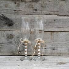 Rustic Wedding Toasting Glasses With Twine And Flowers Champagne Flutes Bride Groom