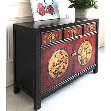 opium outlet asiatisches sideboard kommode chinesisch wohnzimmer schrank vintage anrichte buffet schwarz rot aus holz