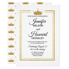 Golden Crown Wedding Invitation chic design idea diy elegant