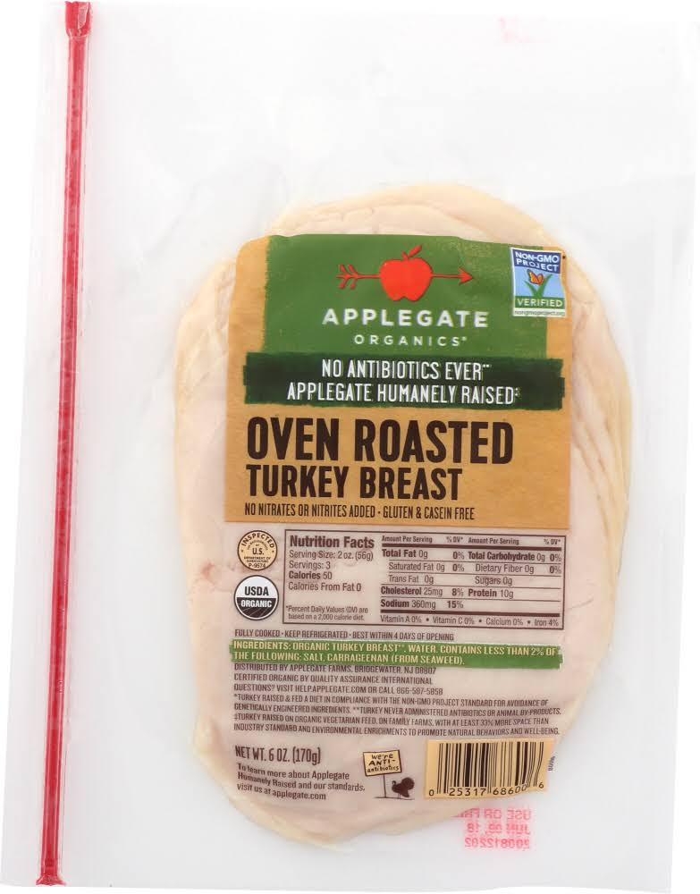 Applegate Organics Turkey Breast, Oven Roasted - 6 oz