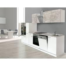 respekta economy küchenzeile kb310wwbsc 310 cm weiß beton optik