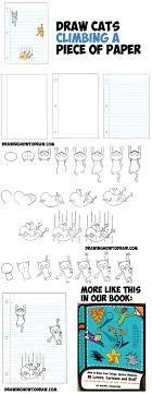 How to Draw Cartoon Cats Climbing Lined Paper 3D Optical Illusion