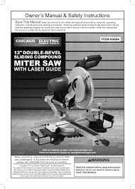 harbor freight tile saw manual chicago electric power tools 12 bevel sliding compound