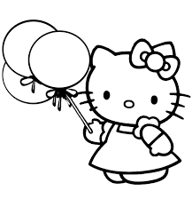 Hello Kitty With Balloons To Color