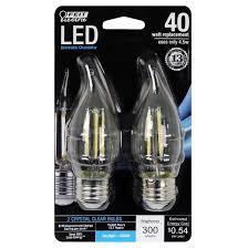 feit 40 watt dimmable filament led decorative light bulb bent tip