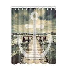 3D Fabric Shower Curtain with Hooks Decor Collection Nautical