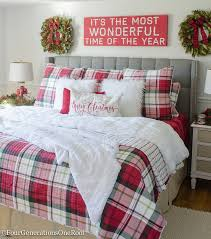 Plaid Christmas Bedroom Featuring White Walls Red Bedding And A Full Spruce