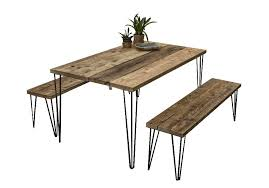 Outdoor Garden Patio Furniture Table And Benches Hairpin Legs Industrial Rustic Style Finish