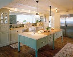 White Cabinets Blue Green Island