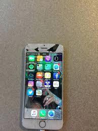 Cracked Iphone 5 6 Gold Broken Screen In 6 Gold Broken Screen