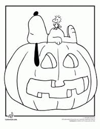Snoopy Woodstock And A Jack O Lantern Coloring Page
