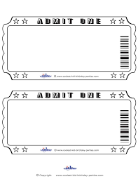 Admit One Ticket Template Free Printable