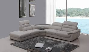 Grey Leather Sectional Living Room Ideas by Casa Miracle Modern Light Grey Italian Leather Sectional Sofa