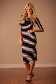 black white stripe dress affordable modest boutique clothes for