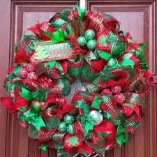 Deco Mesh Christmas Wreath Red Green Xmas Tree W