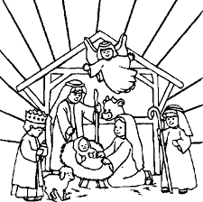 Nativity Scene Of Jesus Coloring Page With Angels And Animals Around His Cribmanger