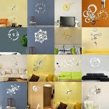 details zu wanduhr deko spiegel wandtattoo 3d design wand uhr wohnzimmer büro silber gold